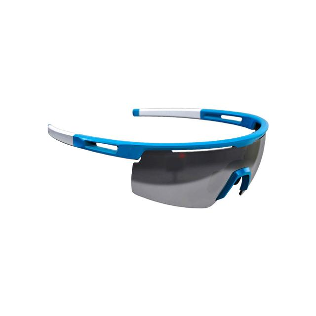 sunglasses Avenger, white temple tips, PC smoke flash mirror lens glossy light blue