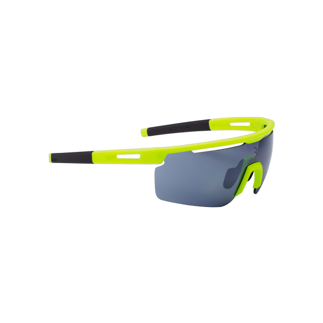 sunglasses Avenger, black temple tips, PC smoke flash mirror lens matt neon yellow