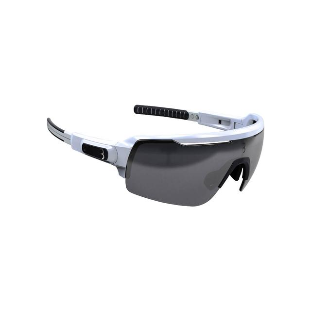 sunglasses Commander PC Smoke MLC silver lens glossy white